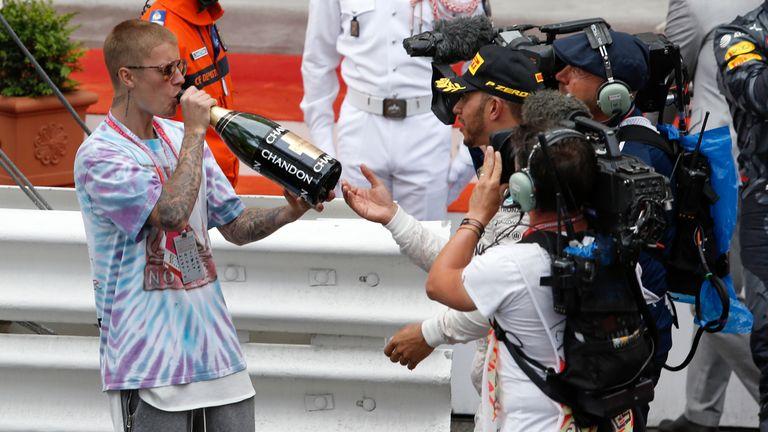 Bieber celebrated Lewis Hamilton's win at the Monaco Grand Prix on Sunday