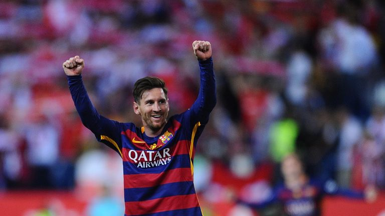 MADRID, SPAIN - MAY 22:  Lionel Messi of FC Barcelona celebrates after his team beat Sevilla 2-0 in the Copa del Rey Final between Barcelona and Sevilla at