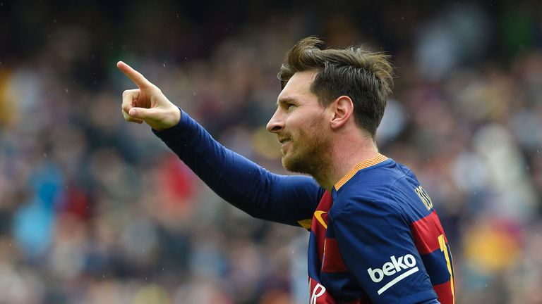 Barcelona's Argentinian forward Lionel Messi celebrates after scoring a goal during the Spanish league football