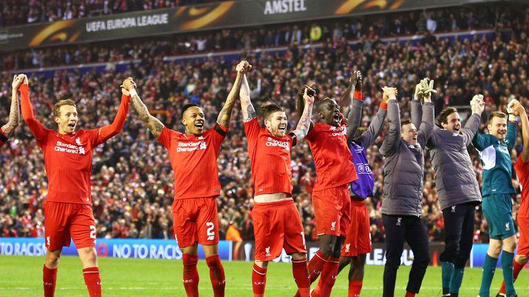 Liverpool players celebrate their win over Borussia Dortmund