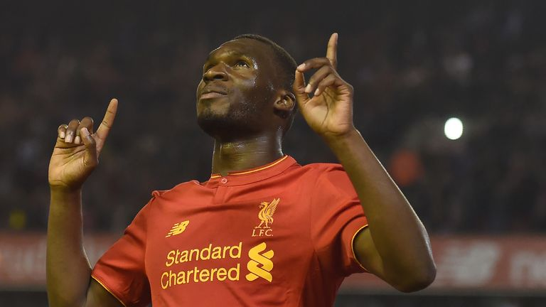 Liverpool's Christian Benteke celebrates the late equaliser
