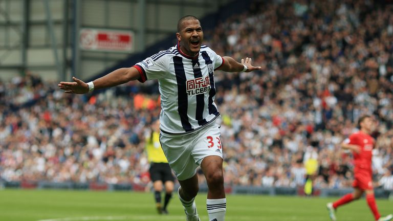Salomon Rondon celebrates after scoring for West Brom against Liverpool
