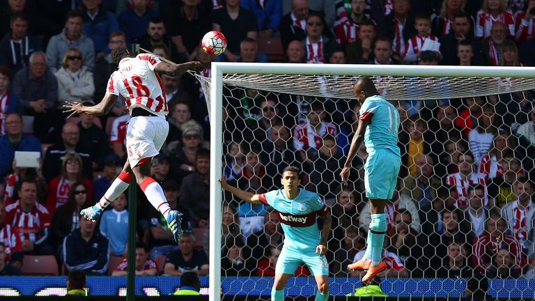 Mame Biram Diouf rises at the near post to head home the winner at the Britannia