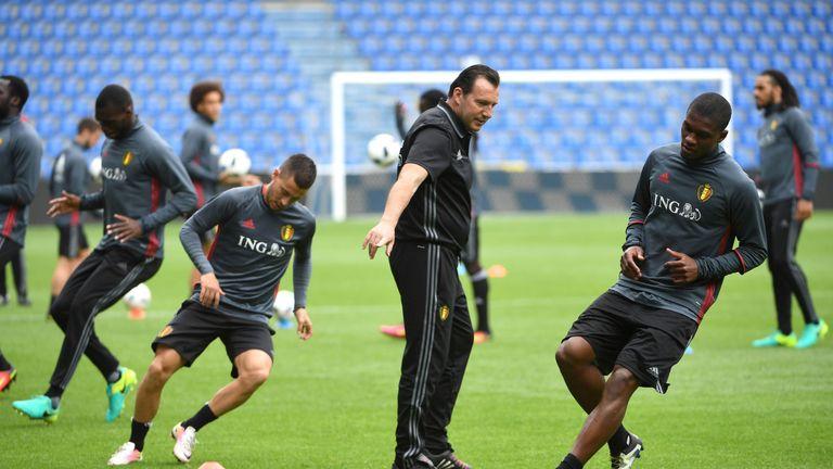 Belgium coach Marc Wilmots (centre) oversees a Belgium training session