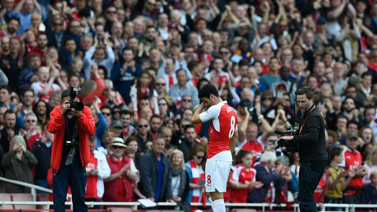 Arteta, playing his final Arsenal game, shows his emotion as supporters applaud at the final whistle