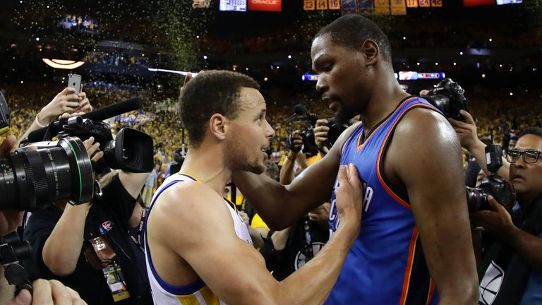 Durant will be part of a formidable partnership with MVP Steph Curry (left)