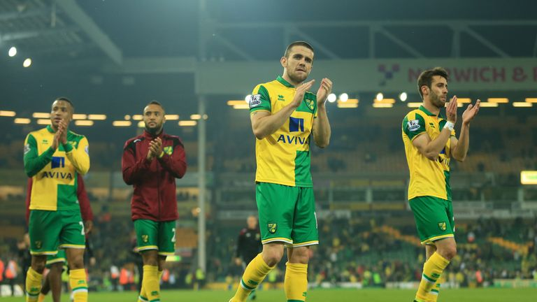 Norwich City players applaud supporters following relegation.