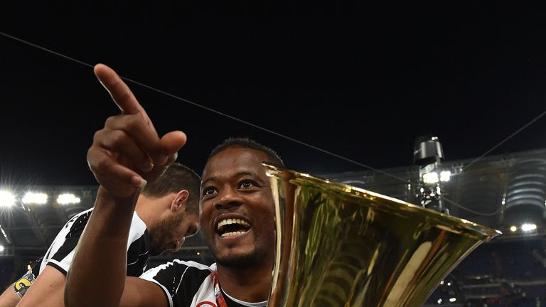 ROME, ITALY - MAY 21:  Patrice Evra of Juventus FC celebrates the victory after the TIM Cup match between AC Milan and Juventus FC at Stadio Olimpico on Ma