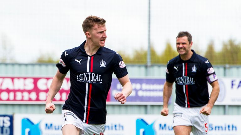 Falkirk's Paul Watson celebrates after scoring his side's opening goal against Morton