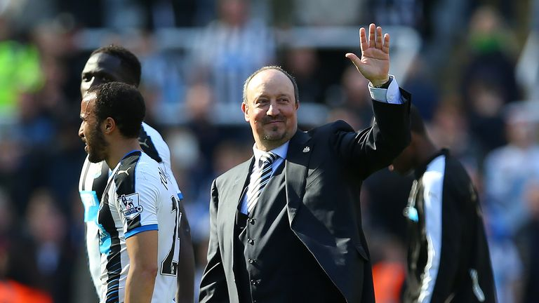 NEWCASTLE, ENGLAND - MAY 15:  Newcastle United manager Rafa Benitez waves during the Barclays Premier League match between Newcastle United and Tottenham a