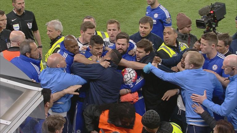 A brawl broke out at full-time between players and staff from both sides