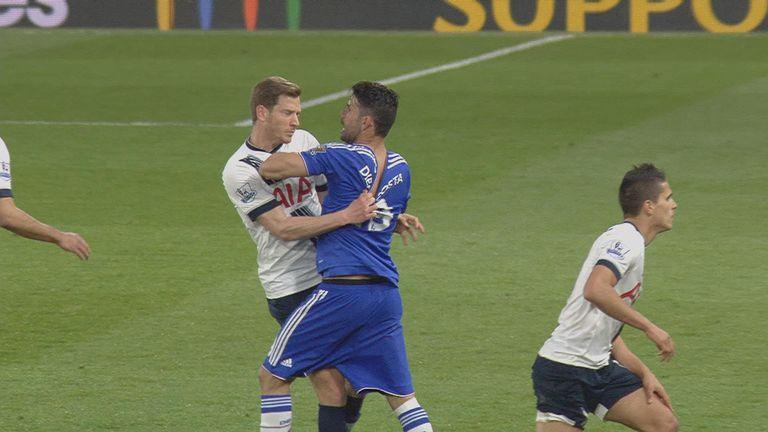 Jan Vertonghen and Diego Costa clash