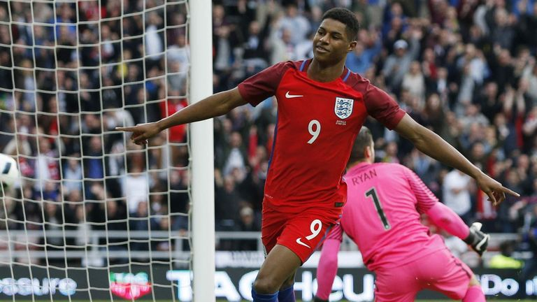 Rashford scored on his senior England debut against Australia in 2016