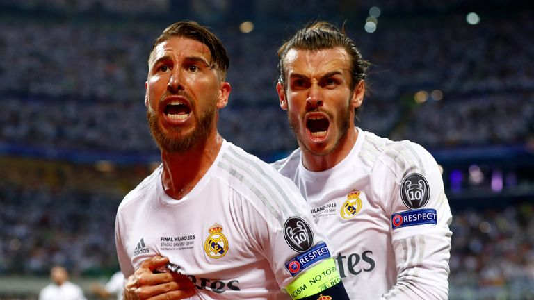 Sergio Ramos (L) of celebrates with Gareth Bale after scoring the opener for Real Madrid in the Champions League final