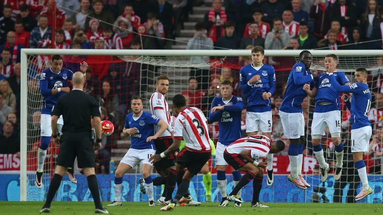 Patrick van Aanholt scores for Sunderland against Everton