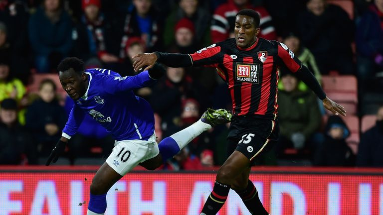 Sylvain Distin (right) made one of his Premier League appearances last season against former club Everton