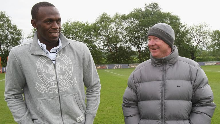 Usain Bolt on a previous visit to Manchester United training with former boss Sir Alex Ferguson