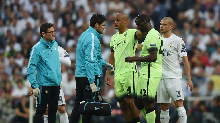 Vincent Kompany (middle) suffered the injury against Real Madrid