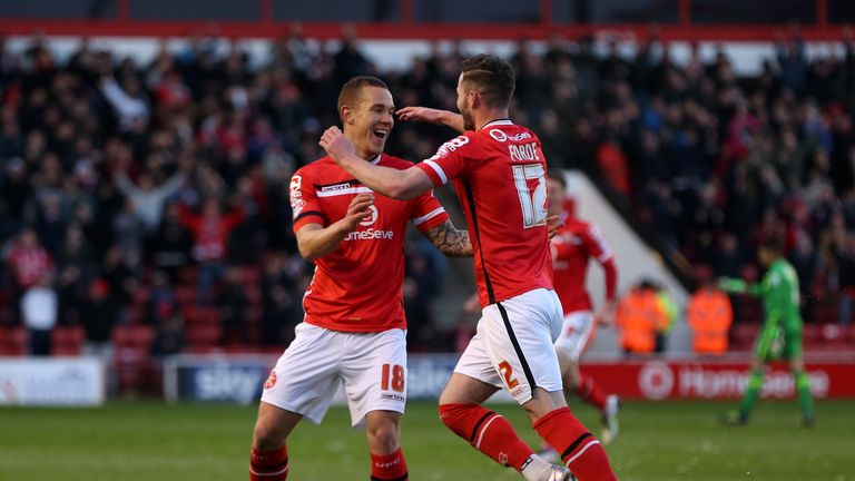 Walsall's Kieron Morris (left) celebrates scoring his side's first goal of the game v Shrewsbury with team-mate Anthony Forde