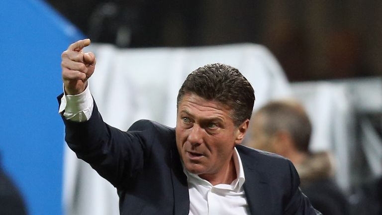 MILAN, ITALY - OCTOBER 29:  Head coach of Inter Walter Mazzarri during the Serie A match between FC