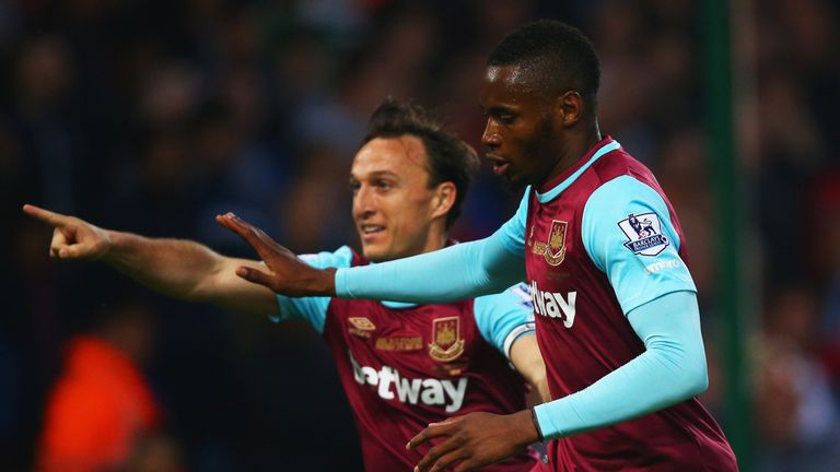 Diafra Sakho celebrates after giving West Ham the lead