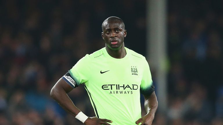 Yaya Toure of Manchester City looks dejected after the goal scored by Romelu Lukaku of Everton during the Capital One Cup