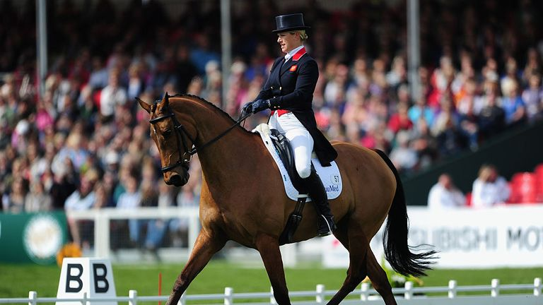 Zara Tindall performs in the dressage event on High Kingdom at Badminton