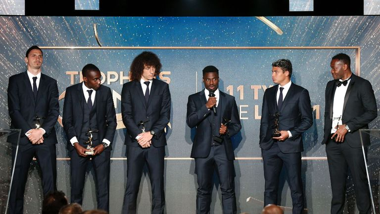Serge Aurier speaks to the crowd alongside his fellow Team of the Year winners on Sunday night