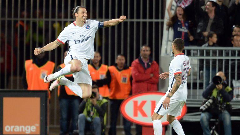 Zlatan Ibrahimovic  celebrates his equaliser for PSG
