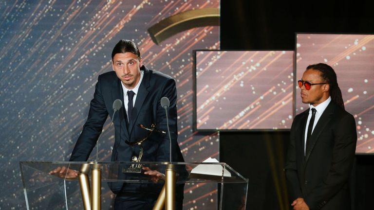 Paris-Saint-Germain's Swedish forward Zlatan Ibrahimovic receives the Ligue 1 Player of the Year award