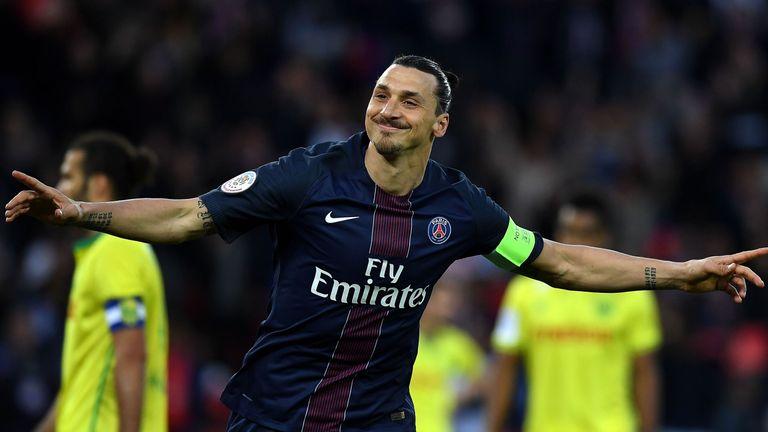 Paris Saint-Germain forward Zlatan Ibrahimovic celebrates