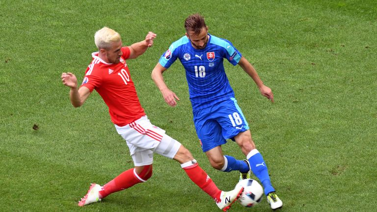 Wales' midfielder Aaron Ramsey (L) vies for the ball against Slovakia's midfielder Miroslav Stoch during the Euro 2016 group B football match between Wales