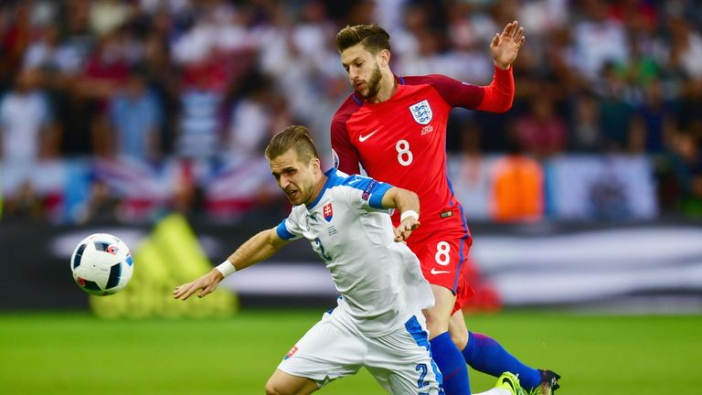 Peter Pekarik of Slovakia is challenged by Adam Lallana of England