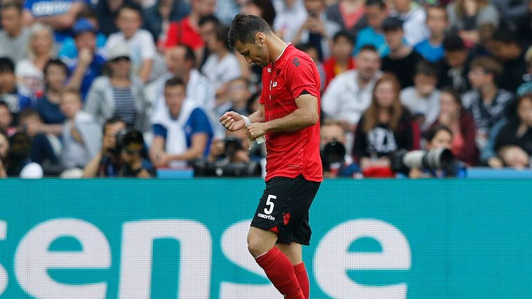 Albania lost their opening match against Switzerland and had Lorik Cana sent off in the first half