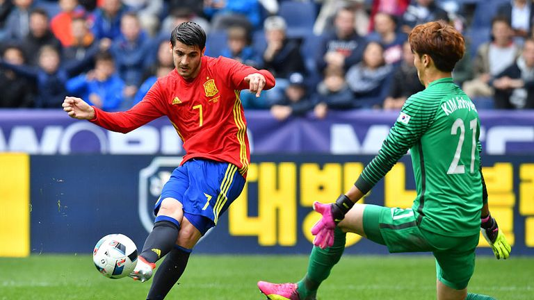 Alvaro Morata scored twice as Spain thrashed South Korea