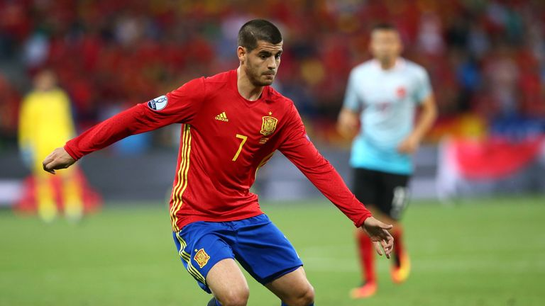 Alvaro Morata of Spain in action