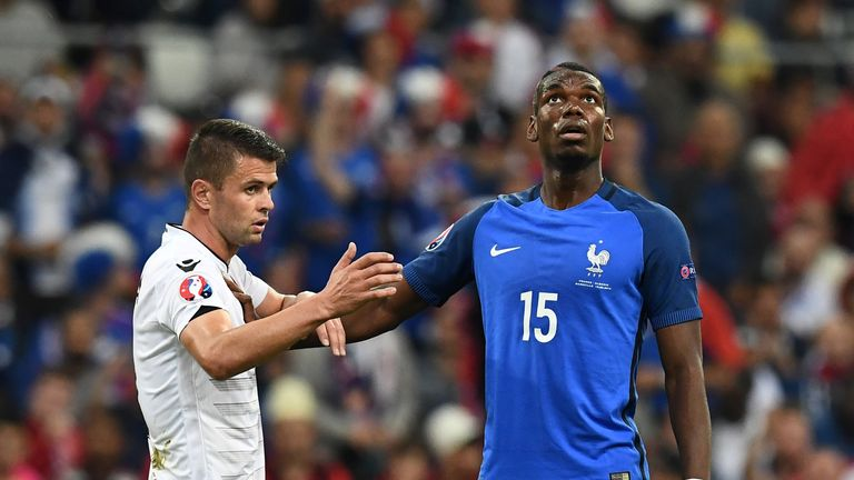 Paul Pogba (R) was introduced at the break