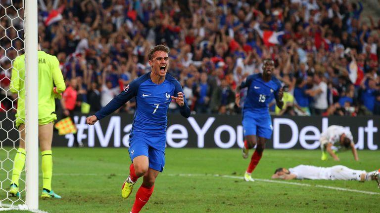 Antoine Griezmann goal celeb, France v Albania, Euro 2016