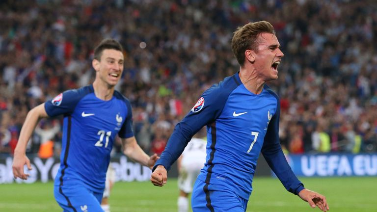 Antoine Griezmann celebrates scoring against Albania
