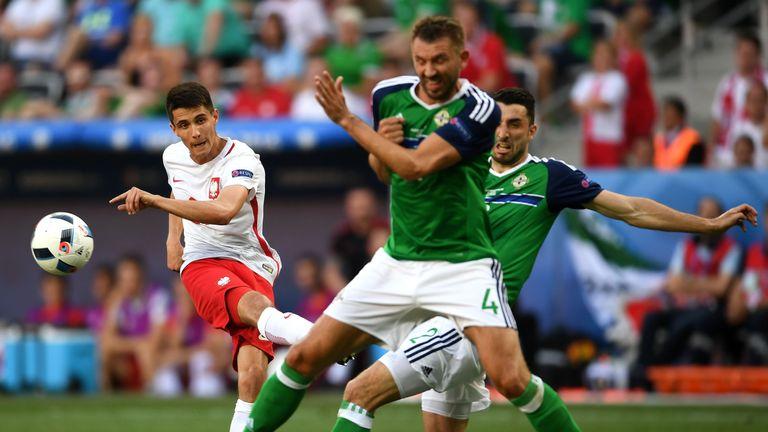Poland's Bartosz Kapustka shoots at goal during their clash with Northern Ireland
