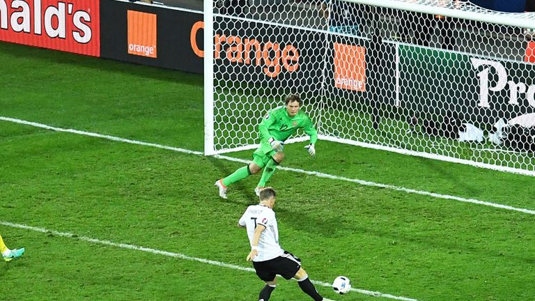 Bastian Schweinsteiger scores Germany's second goal against Ukraine