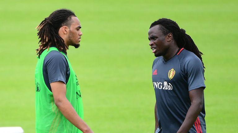 Belgium coach Marc Wilmots is likely to start Jason Denayer (L) and Jordan Lukaku (R) against Wales