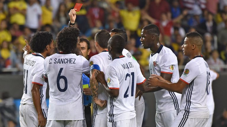 Colombia's Carlos Sanchez saw red after picking up two yellow cards