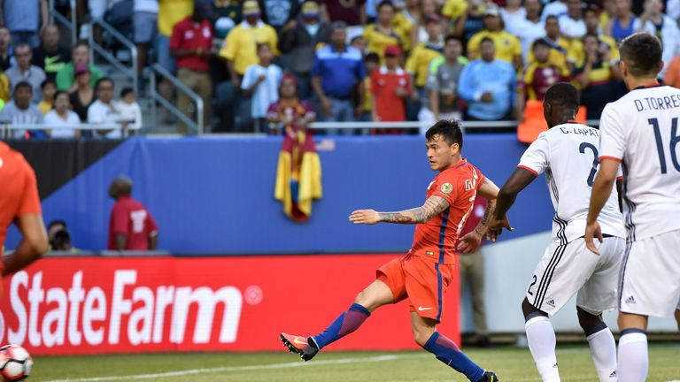 Charles Aranguiz scored Chile's first goal in the seventh minute