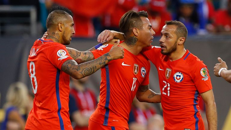 Eduardo Vargas celebrates after scoring for Chile