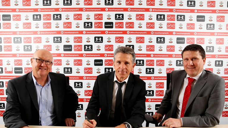Southampton's new manager Claude Puel, with executive director of football Les Reed (left) and chief executive Gareth Rogers, 29 June 2016