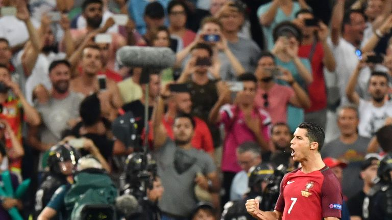 Ronaldo reacts after scoring the first in the penalty shoot-out