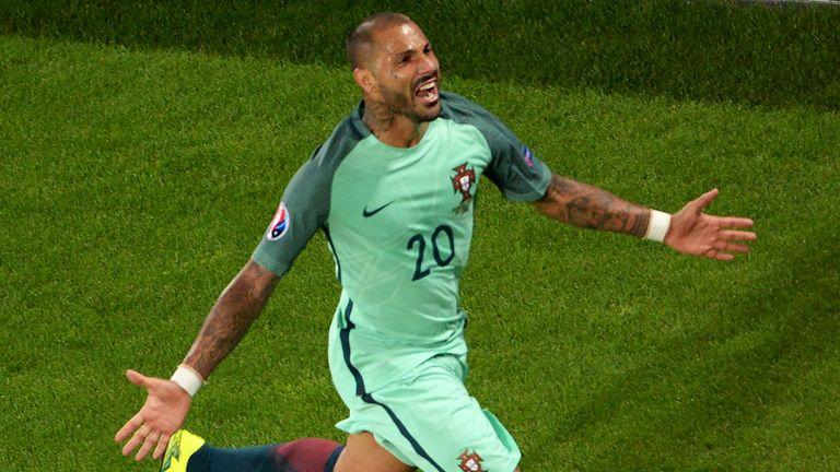 Portugal's forward Ricardo Quaresma celebrates after scoring an extra-time winner against Croatia
