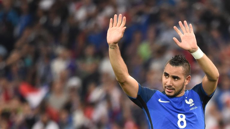 Dimitri Payet celebrates after France's victory over Albania