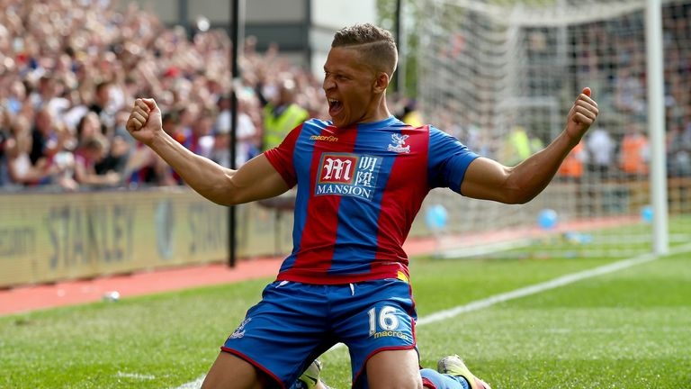 LONDON, ENGLAND - MAY 07:  Dwight Gayle of Crystal Palace celebrates his second goal during the Barclays Premier League match between Crystal Palace v Stok